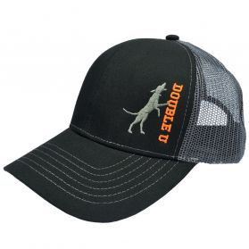 Double U Treed Dog Black with Charcoal Mesh Snap Back Hat
