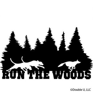 Run the Woods Dogs Chasing coyote Trees Silhouette