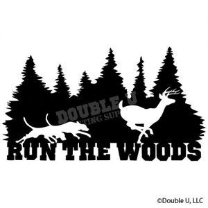 Run the Woods Dogs Chasing DeerTrees Silhouette